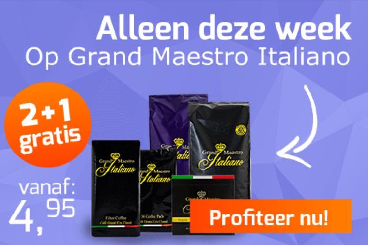 2+1 gratis bij Koffievoordeel op alle Grand Maestro Italiano koffie