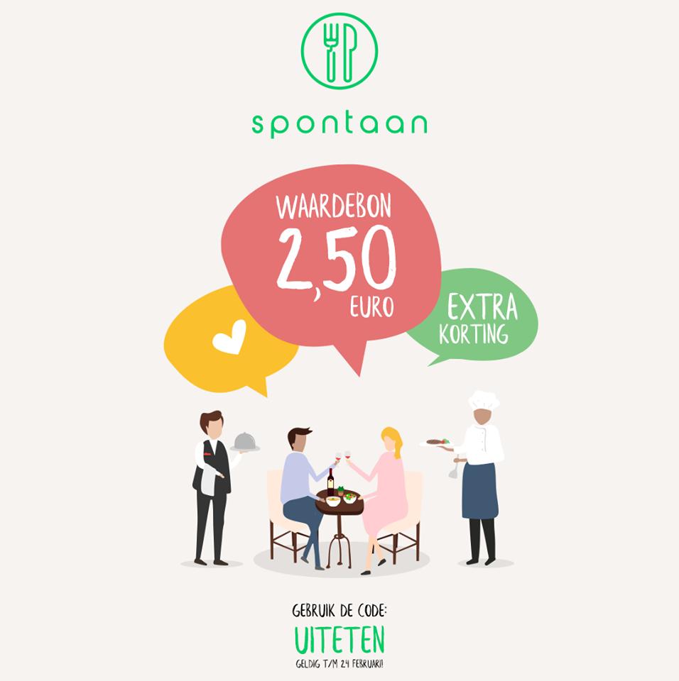 €2,50 korting bij de app Spontaan