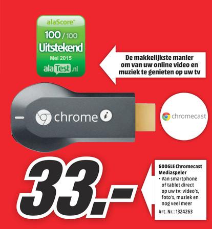 Chromecast voor €33 @ Mediamarkt