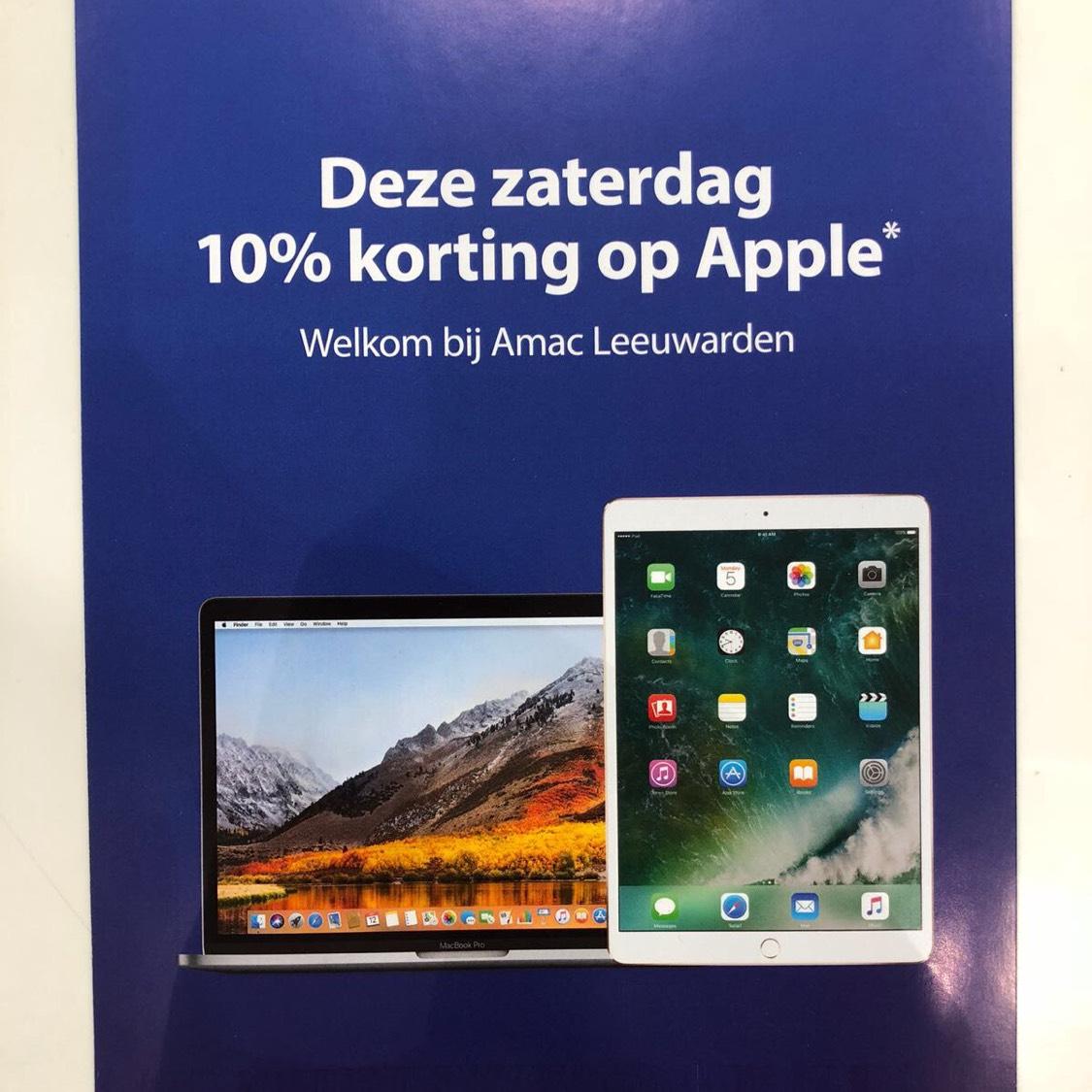 10% korting op alles van Apple! Gratis Belkin screenprotector t.w.v. €24,95 bij Amac Leeuwarden