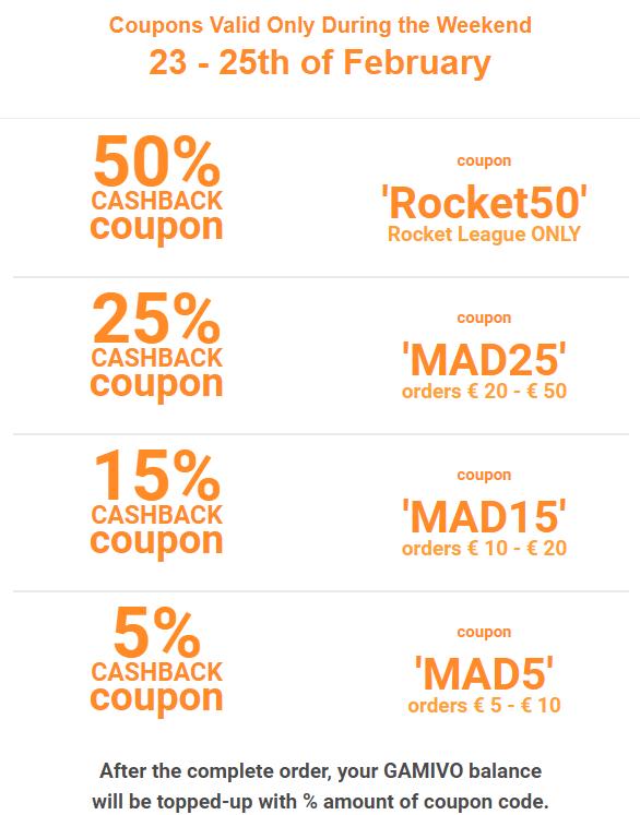 GAMIVO-coupons voor het weekend (cashback)