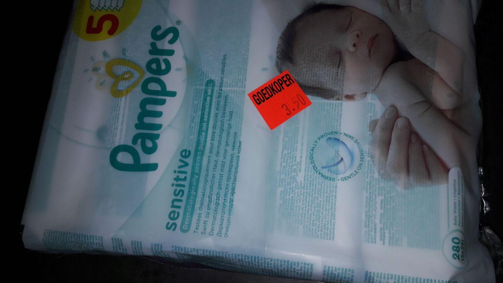 Pampers sensitive babydoekjes van €6,59 voor €3,50 bij Aldi