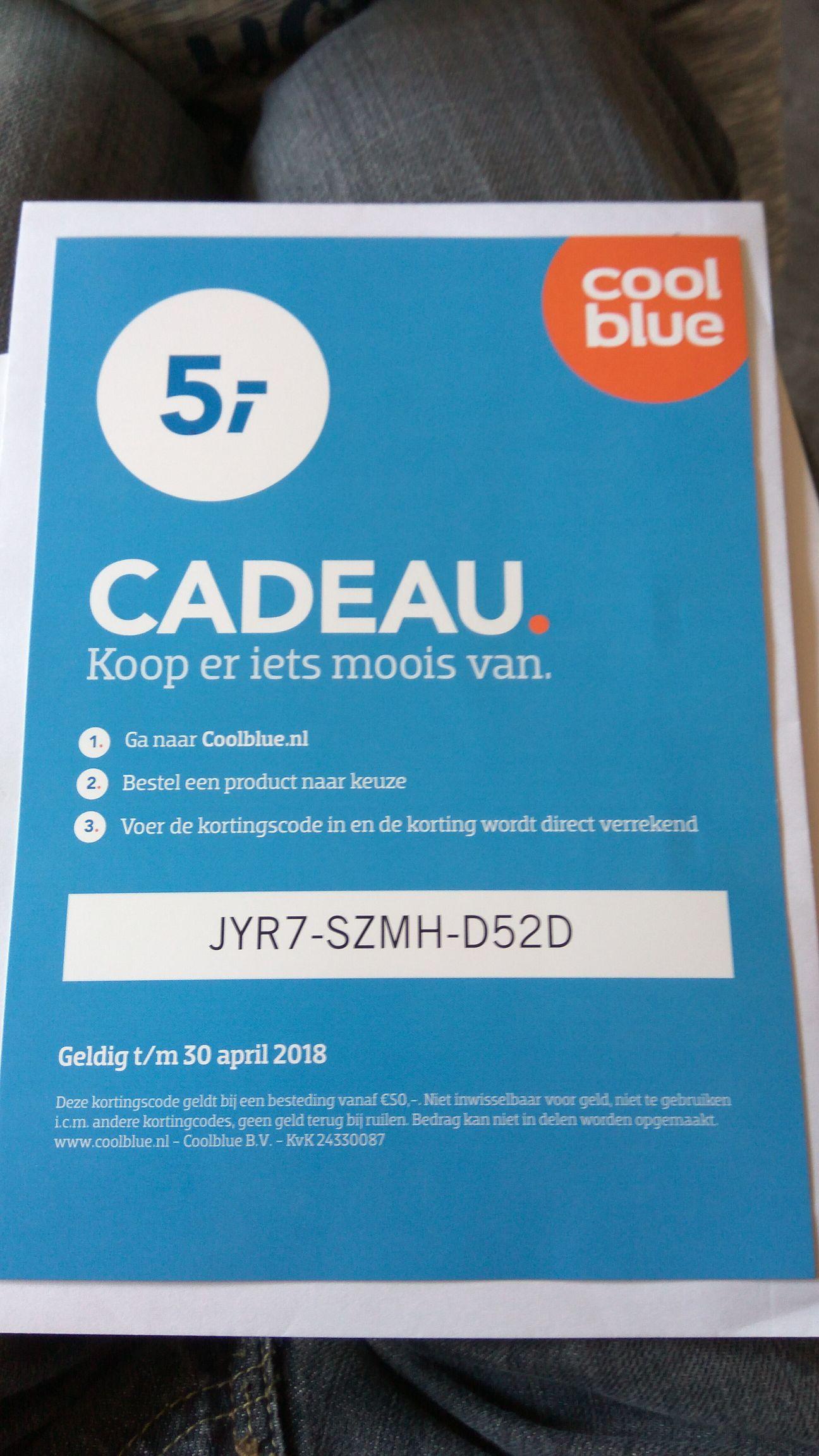 Coolblue €5,- korting vanaf €50,-