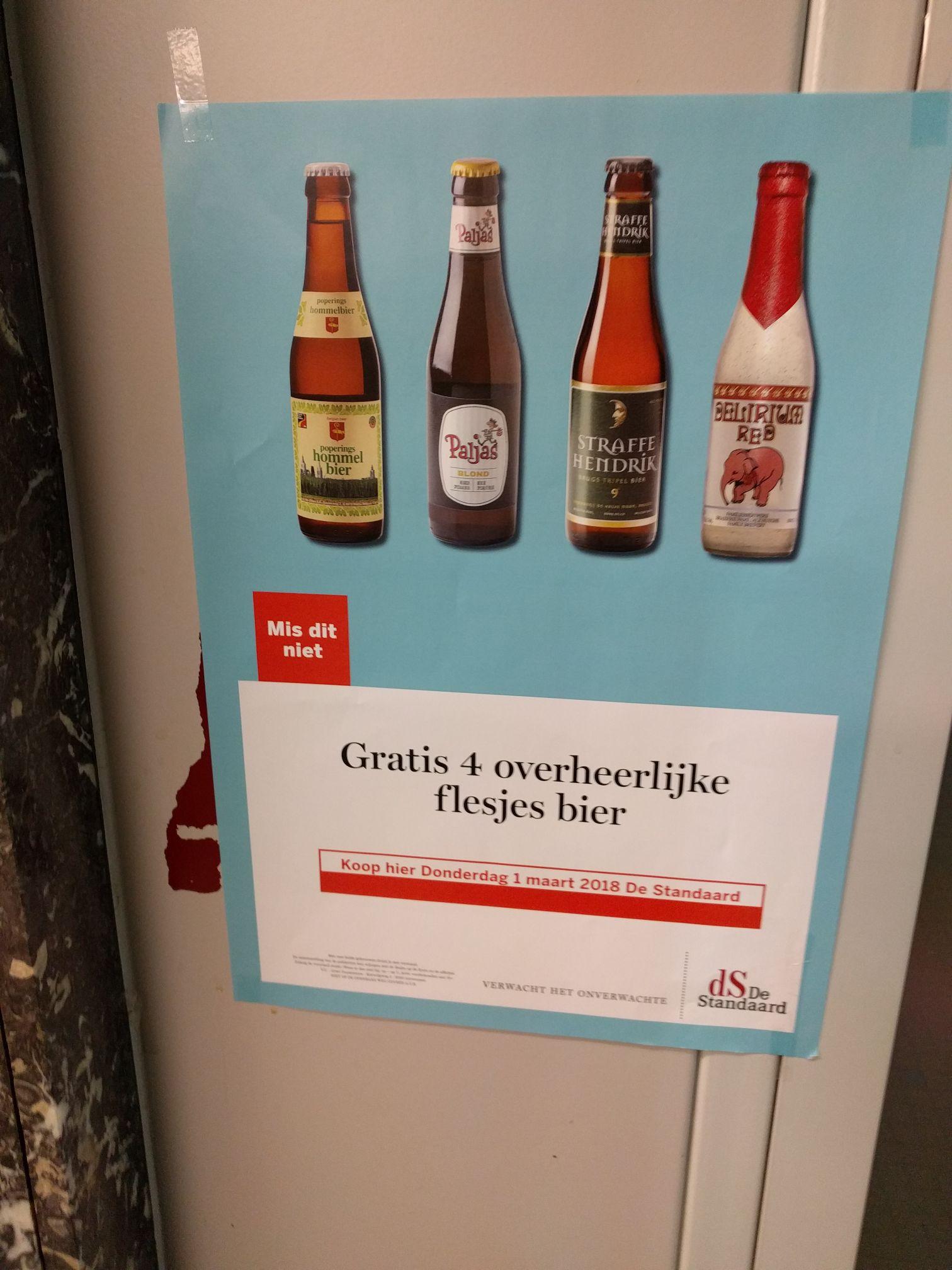 [GRENSDEAL BELGIË] 4 flesjes bier gratis bij krant