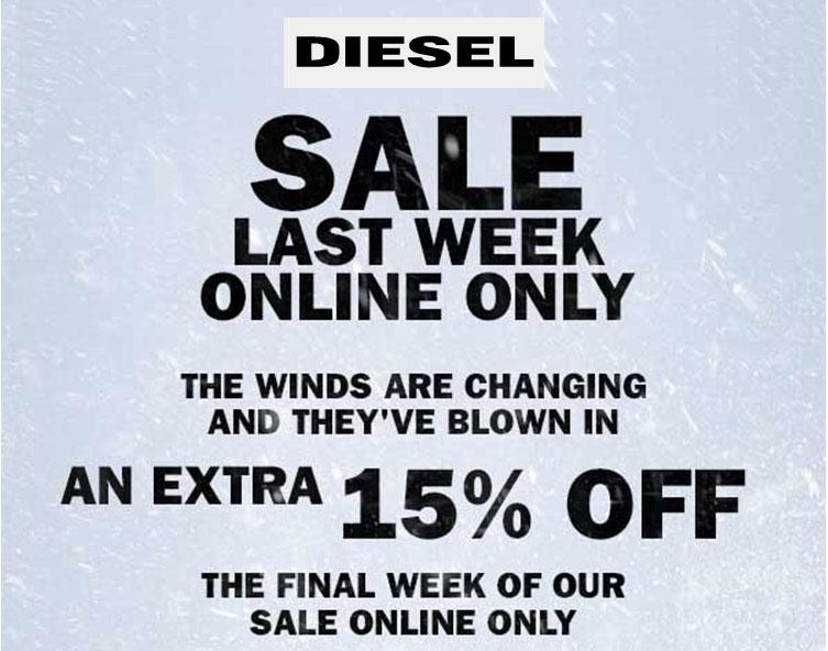 Actie: 15% extra korting op sale @ Diesel