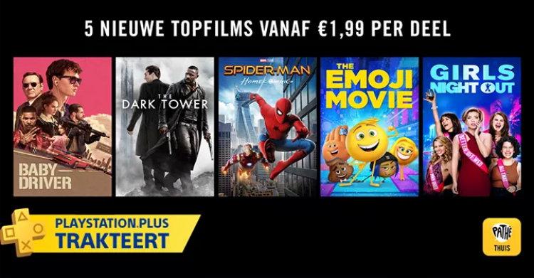 5 Geselecteerde Pathé Thuis films voor € 1,99 per stuk via PlayStation