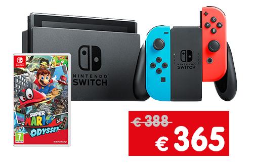 Nintendo Switch bestaat 1 jaar, 10% korting op alle Nintendo Switch accessoires + verjaardagsbundel voor €365 @ Gamemania