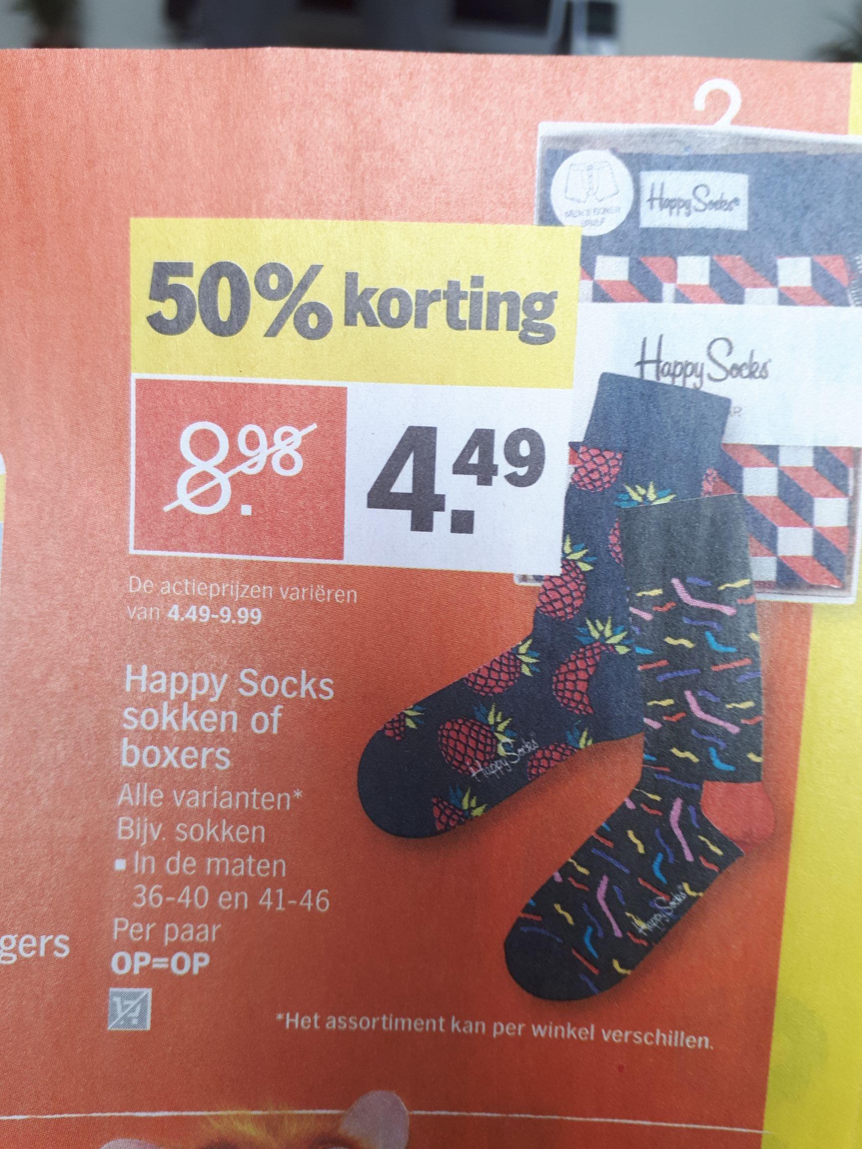 50% korting op Happy Socks sokken of boxers vanaf maandag bij de AH