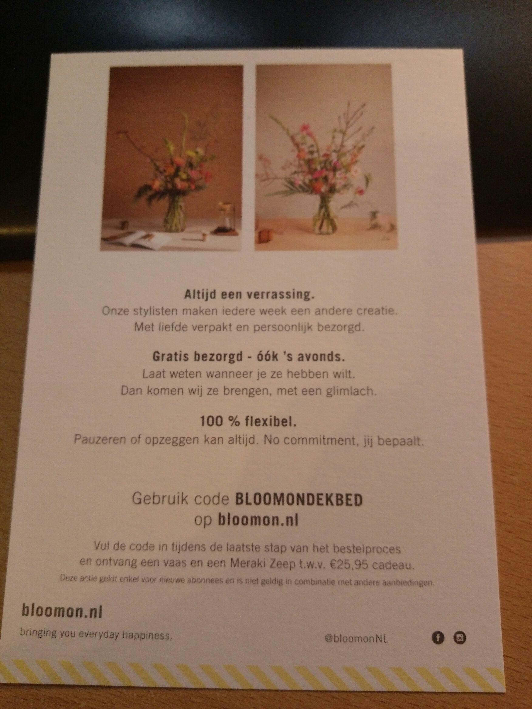 Vaas en Meraki zeep cadeau voor nieuwe abonnees bij bloomon