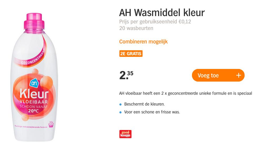 AH Huismerk wasmiddel 2=1 (5,8 cent per was)