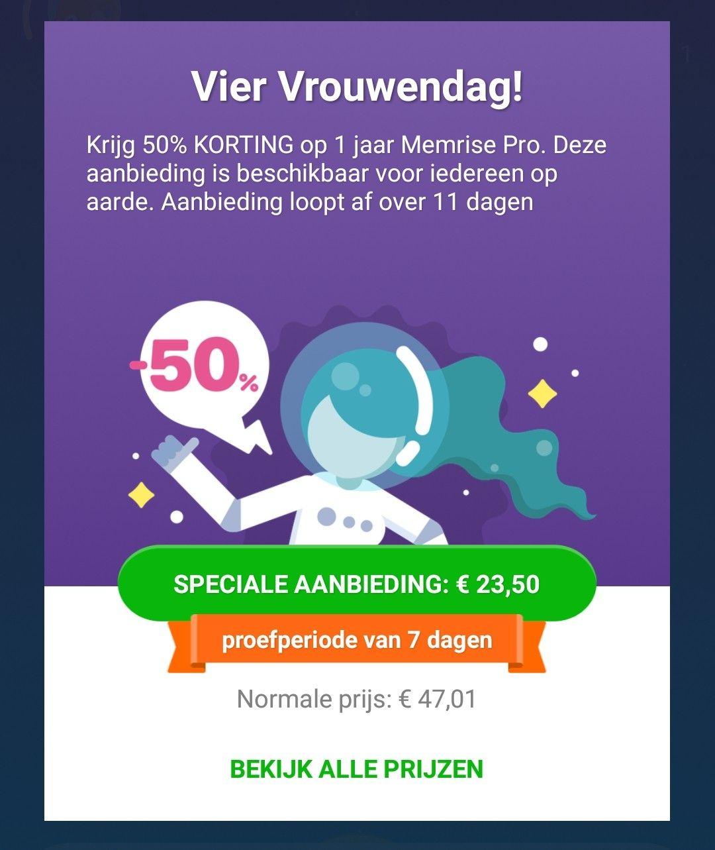 Memrise Pro : 50% korting (nu 23.50/jaar)