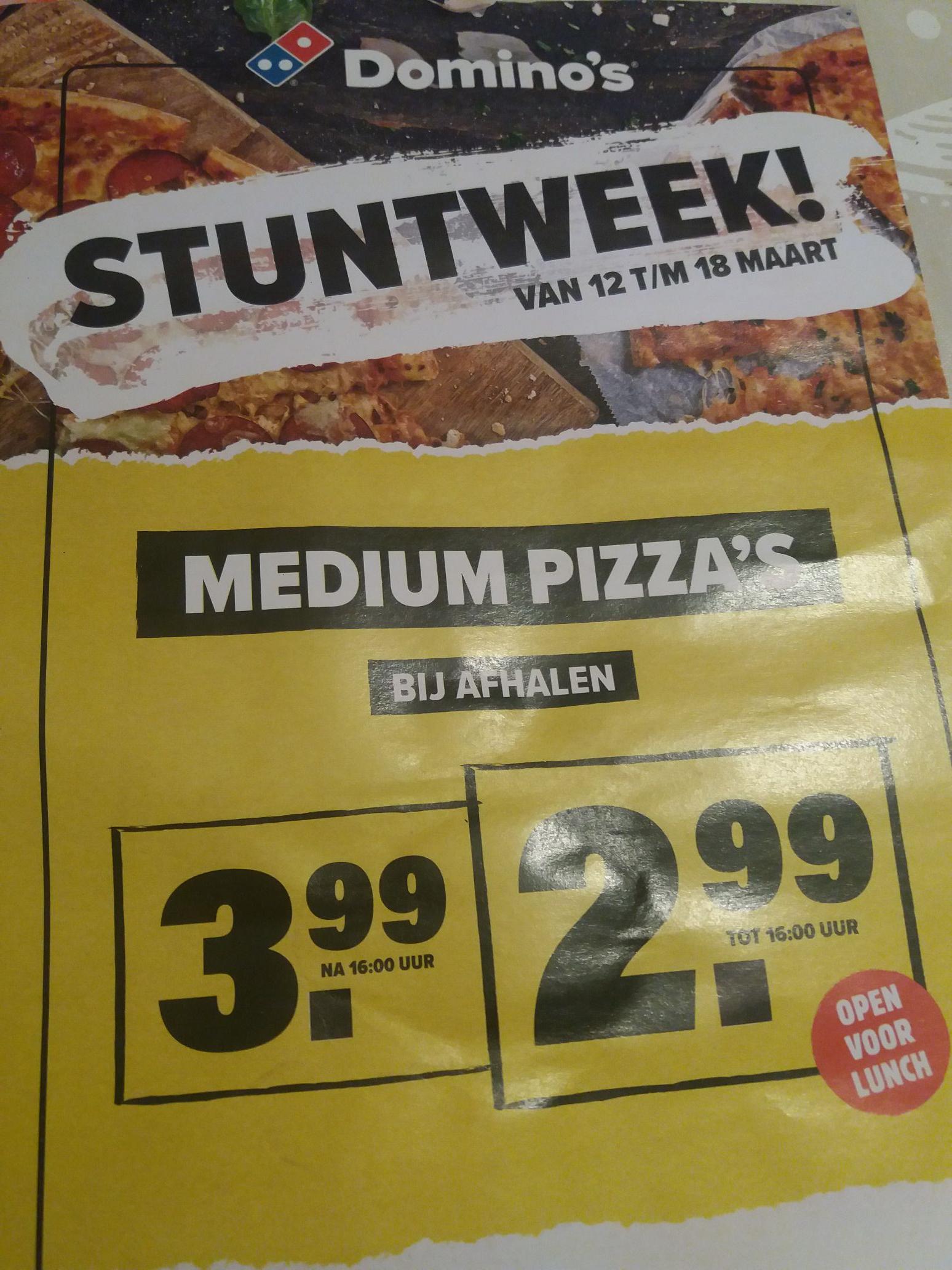 Stuntweek Domino's - Pizza's voor €2.99 / €3,99