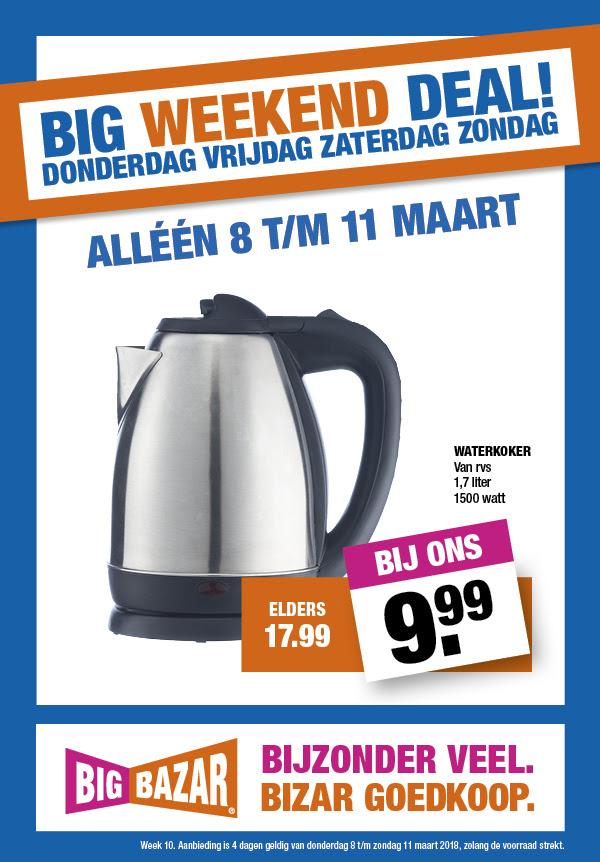 RVS Waterkoker 1,7 liter - €9,99 @ Bigbazar