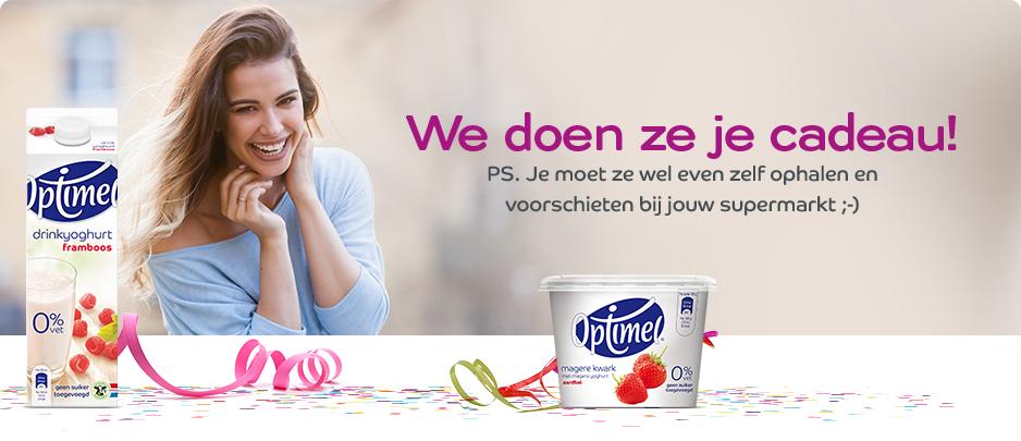 Gratis optimel drinkyoghurt framboos & kwark aardbei @eurosparen