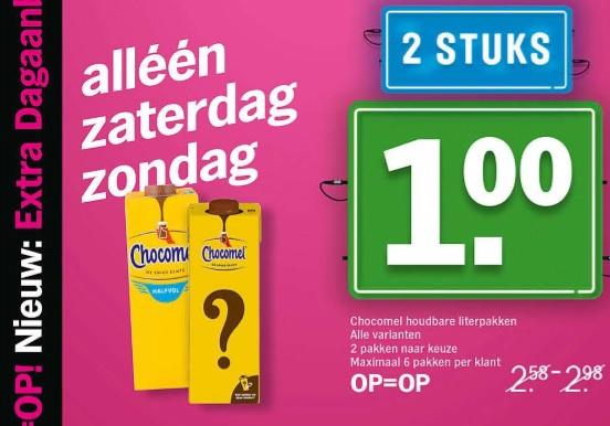 [REMINDER] Zaterdag & Zondag : 2 pakken Chocomel voor 1 EURO