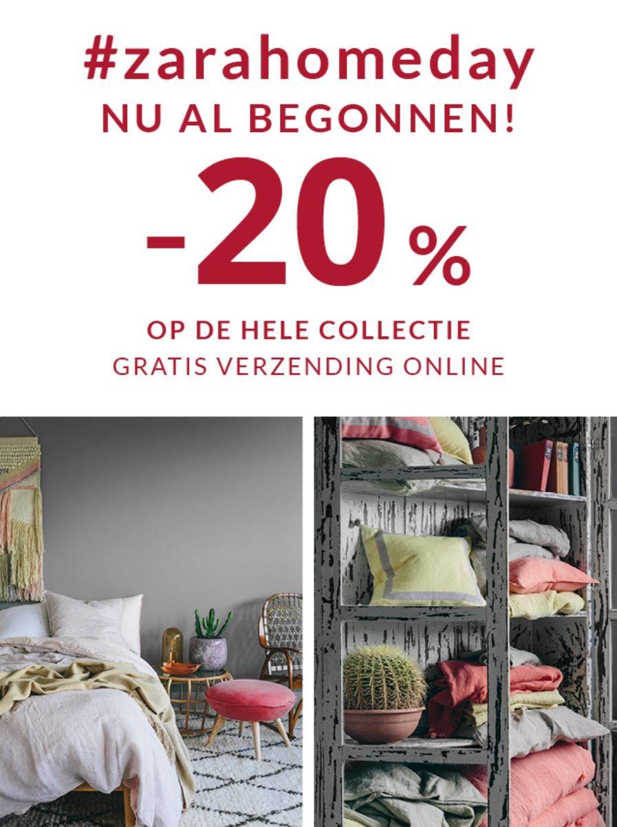 20% korting op de hele collectie van Zara home en gratis verzending