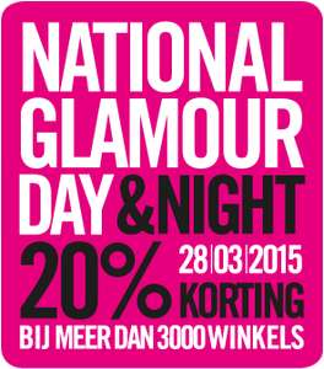 Zaterdag 28 Maart - National Glamour Day met 20% korting bij heel veel webshops en winkels