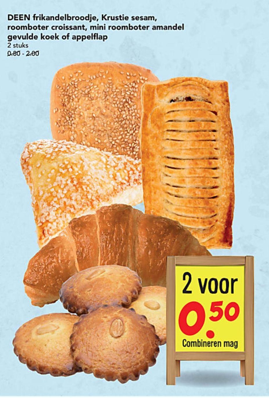 DEEN frikandelbroodjes, gevulde koek, en nog veel meer: 2 stuks €0,50!!