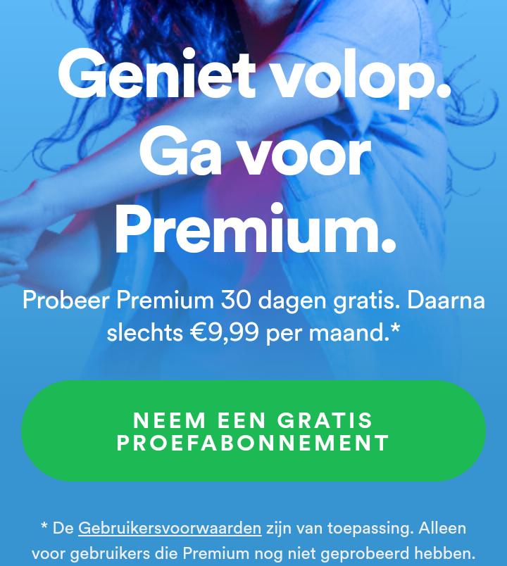 Spotify Premium gratis 30 dagen*