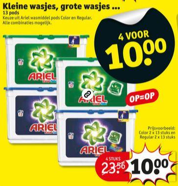 Ariël pods - 4x voor €10 @ Kruidvat