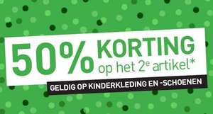 Actie: 2e kids artikel 50% korting + €5 extra (va €50) @ Scapino