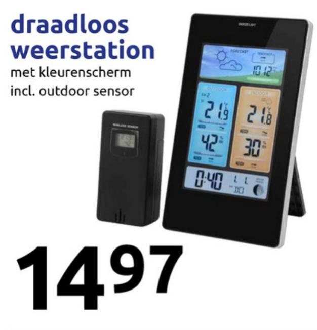 Draadloos weerstation vanaf woensdag voor €14,97 @ Action