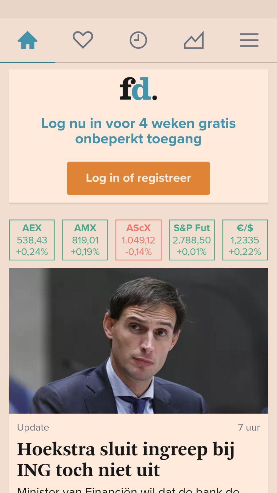 Gratis 4 weken Financieel Dagblad op FD app. (ook in appstore)