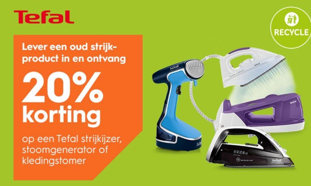 Tefal wisselweken bij Blokker: tegen inlevering van een oud strijkproduct, 20% korting op een tefal strijkproduct