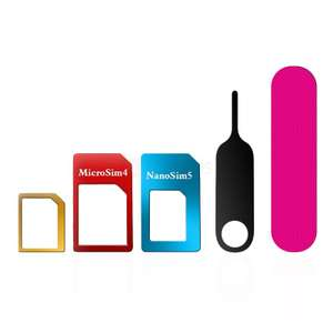 5 in 1 Nano/Micro/Standard Sim Card Adapter Kit voor €0.30