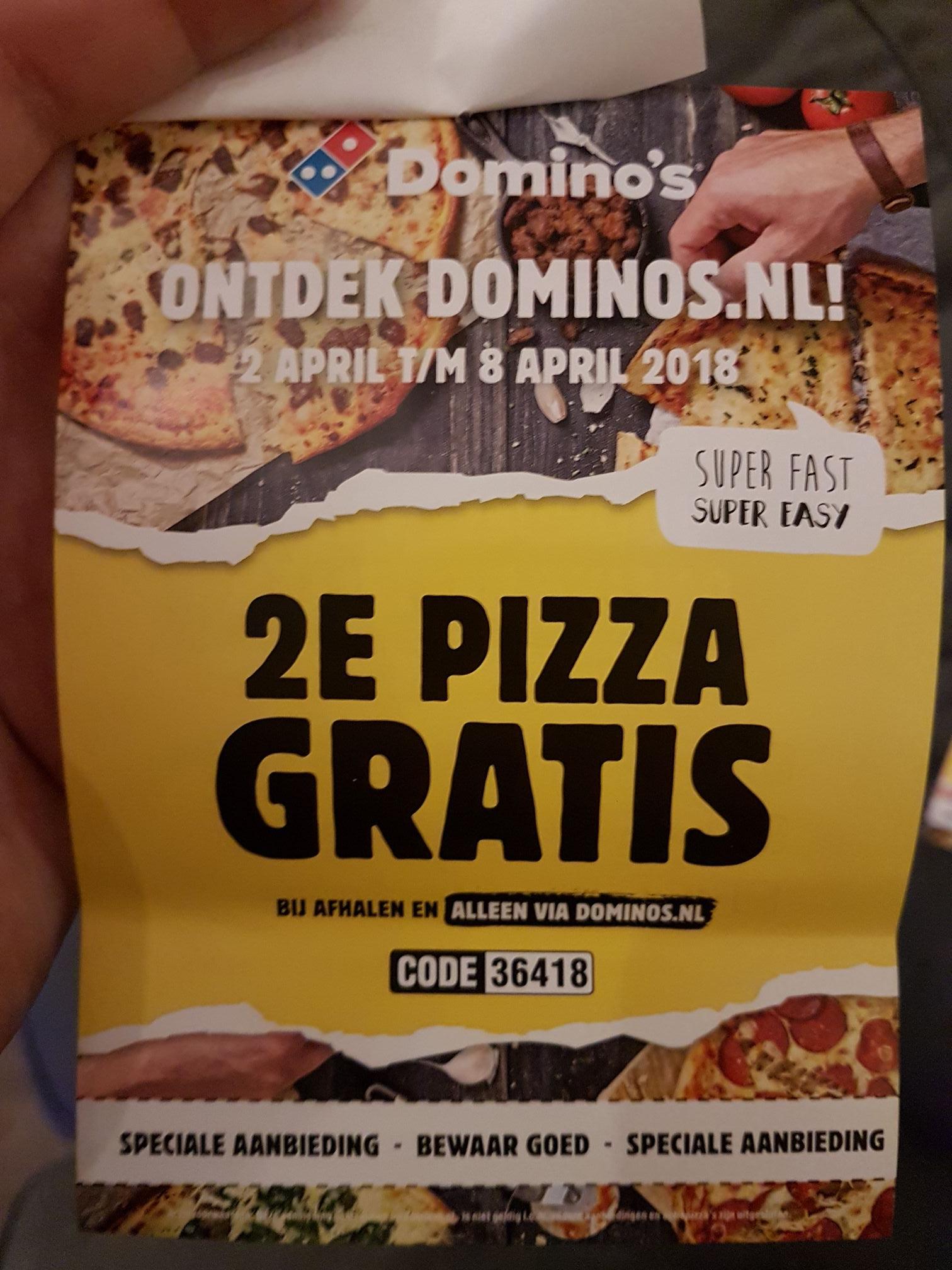 Domino's 2e pizza gratis (bij afhalen)