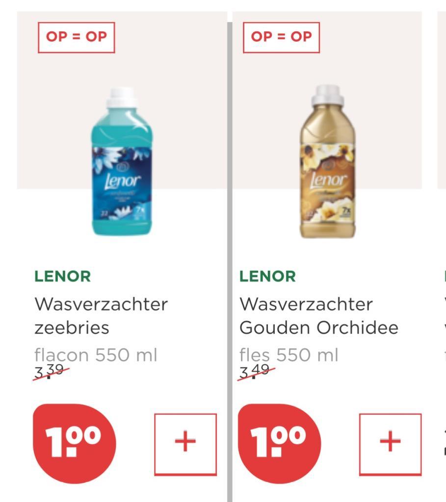 Lenor wasverzachter (22 wasbeurten) € 1,- @ plus