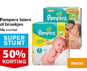 Pampers luiers of broekjes 50% korting bij Hoogvliet