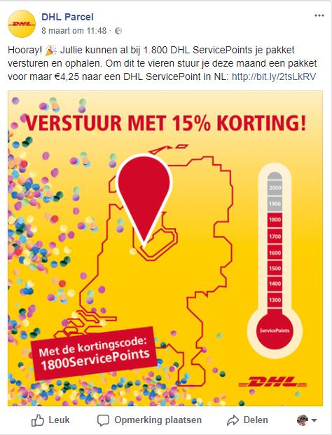 Pakket versturen met DHL voor maar €4,25 naar een DHL ServicePoint (15% korting)