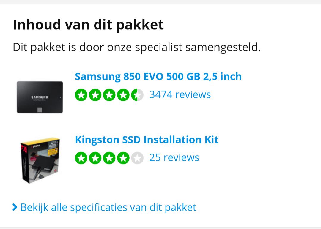 Weer beschikbaar: Samsung 850 EVO 500 GB + Kingston Installatiekit
