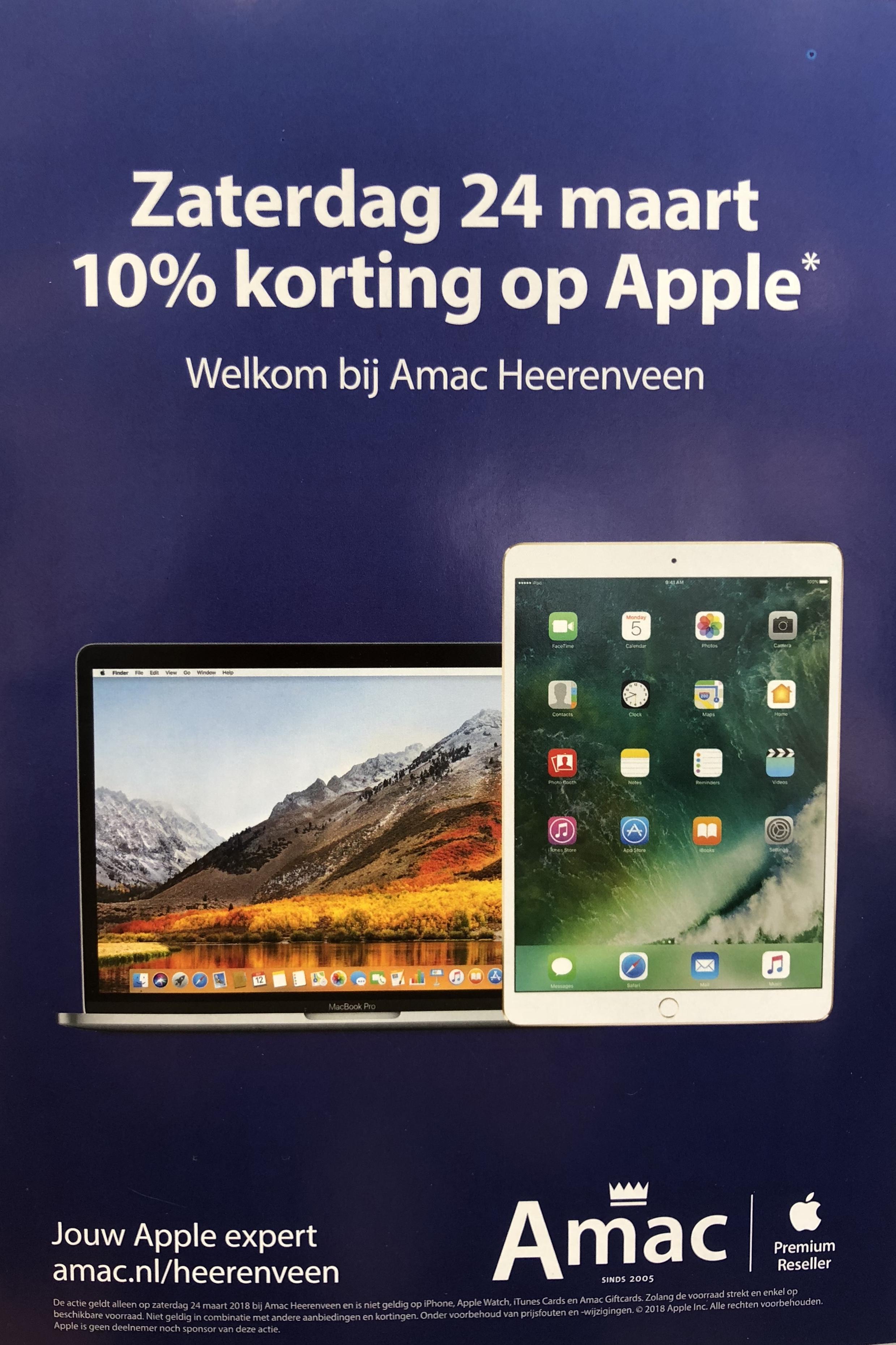 10% korting op Apple! Gratis Belkin Screenprotector t.w.v. €24,95 bij Amac Heerenveen