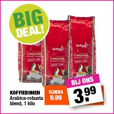 1kg koffiebonen voor €3,99 @ Big Bazar