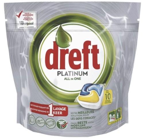 10 stuks Dreft Platinum Lemon All-In-One Vaatwastabletten @Trekpleister