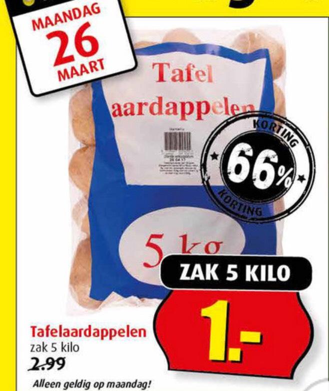 5KG Aardappelen €1,- (alleen op ma 26 maart) @Boni