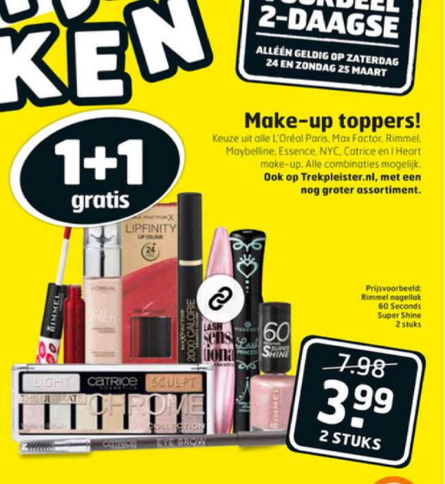 1+1 gratis op make-up @ trekpleister