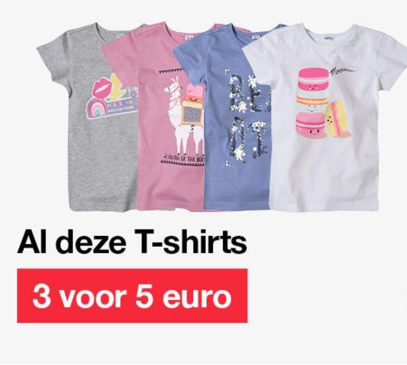 3 kindershirts voor €5,- bij Zeeman