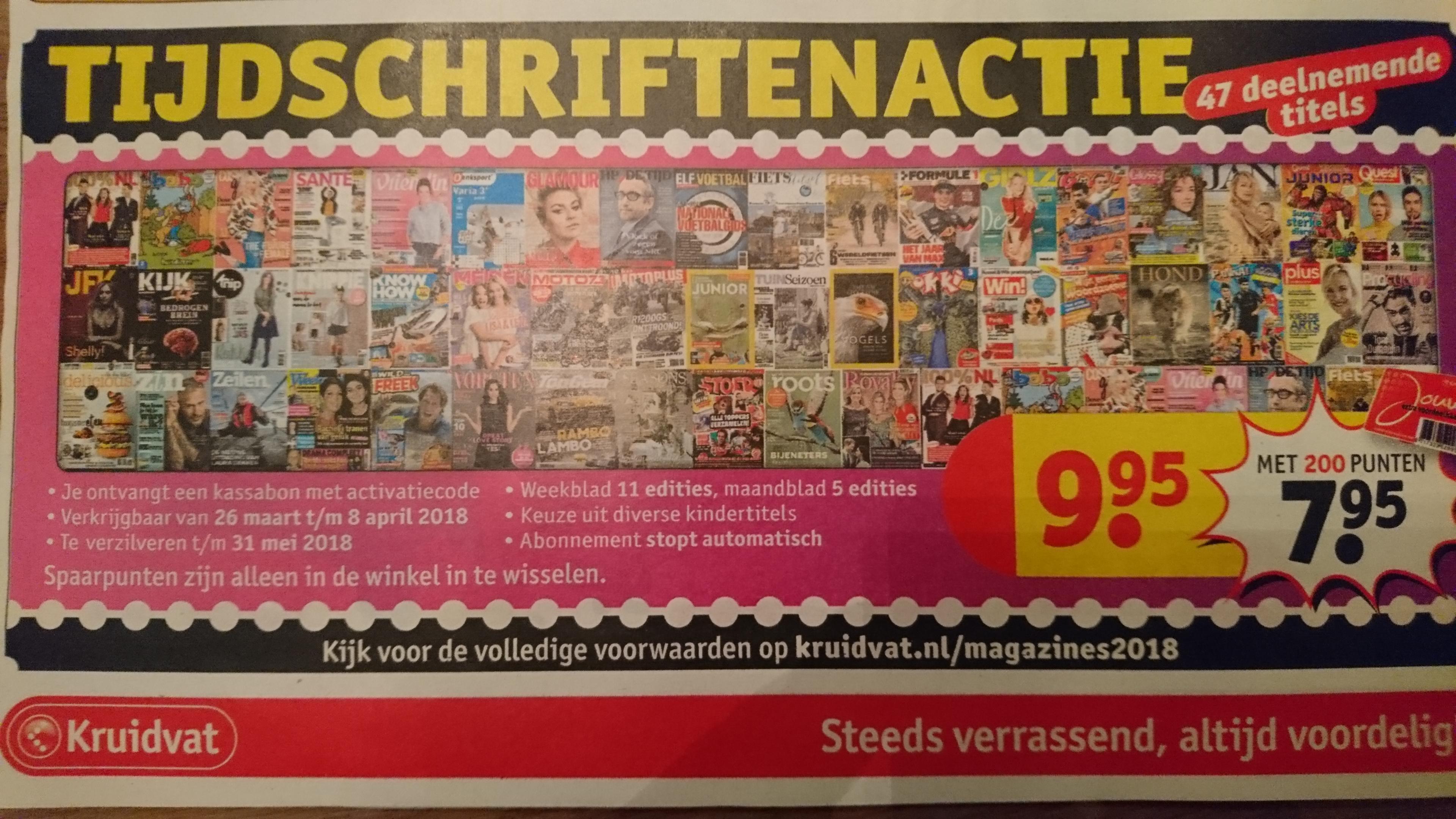 Tijdschriften abonnement van 5 of 11 nummers vanaf €7,95 (stopt automatisch) @ Kruidvat