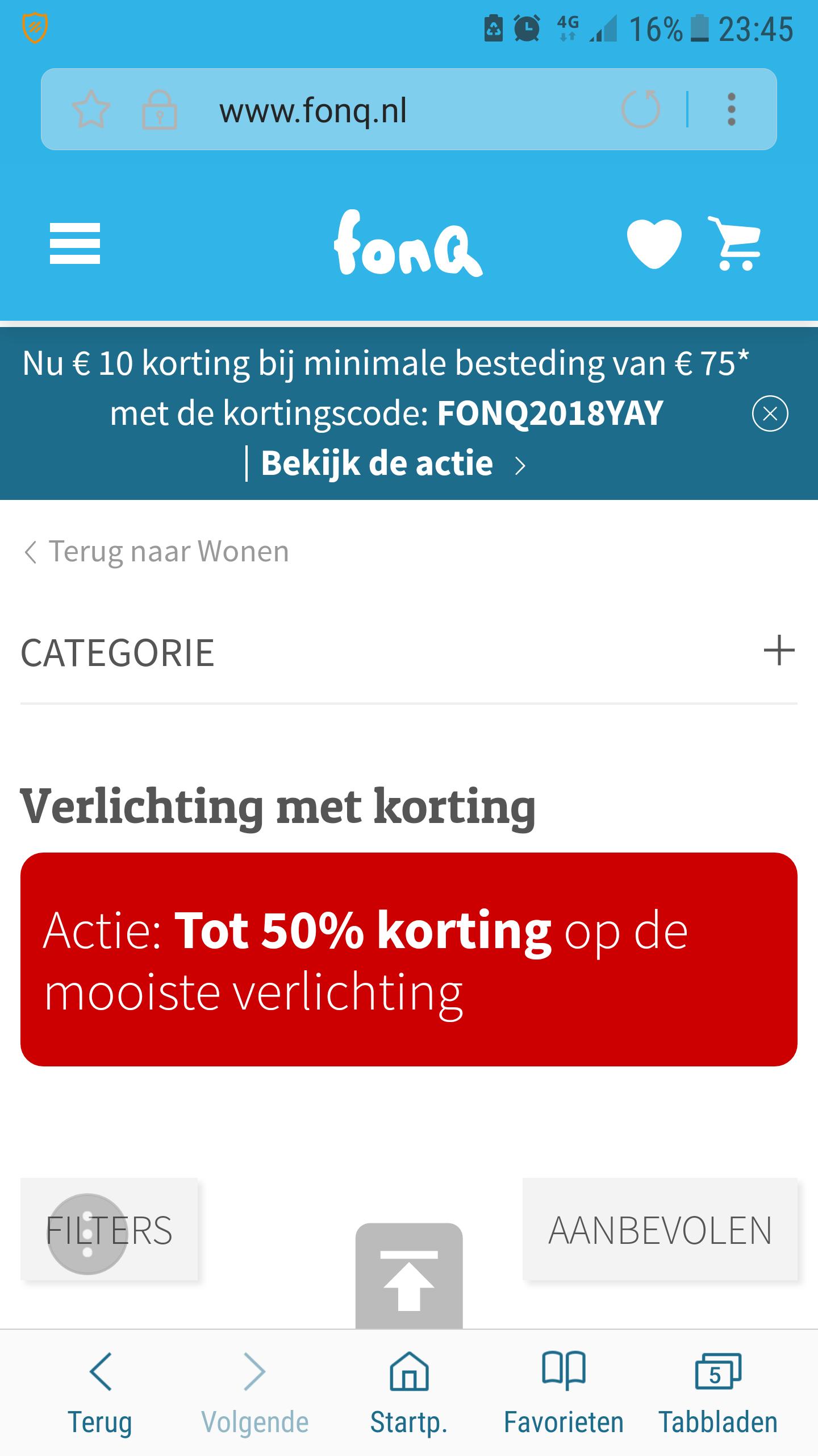 Actie:Tot 50% kortingop de mooiste verlichting. + €10 bij een besteding boven de €75,- en/of oulet tot 60% korting