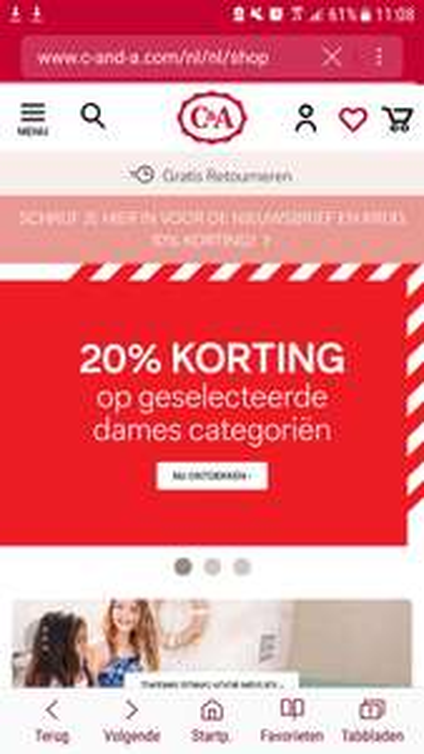 C&A 20% korting geselecteerde dames categoriën