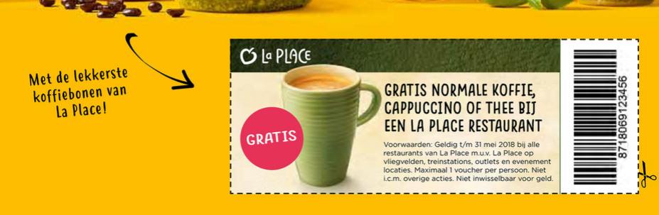 """Gratis Koffie, Cappuccino of Thee bij La Place met bon uit de """"Hallo Jumbo"""""""