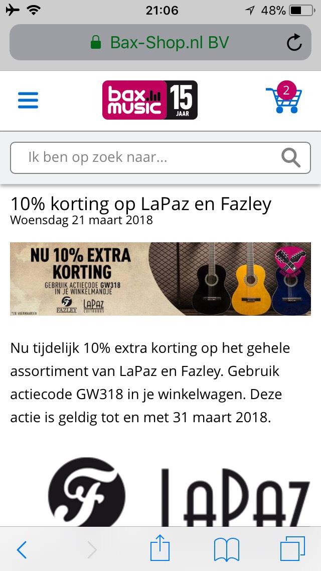 10% korting op LaPaz en Fazley gitaren