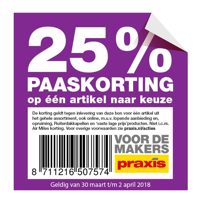 25% Paaskorting op één artikel naar keuze @ Praxis