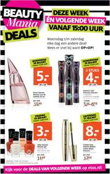 Beauty Mania deals, deze en volgende week @ Etos