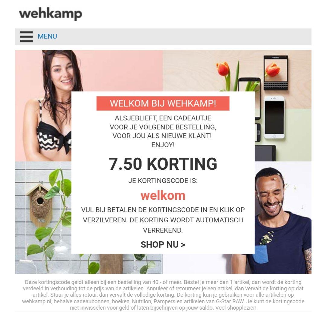 7.50 euro korting op alles bij Wehkamp ( vanaf 40 euro )