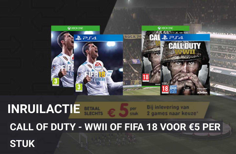 Inruilactie FIFA 18 & Call of Duty - WWII voor €5 bij inlevering van 2 games @ Gamemania
