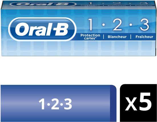 Oral-B 1.2.3 - Voordeelverpakking 5 x 75 ml - Tandpasta @ BOL